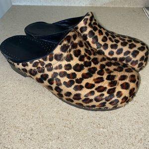 Sanita Leopard Print Fur Womens Clogs Size 41